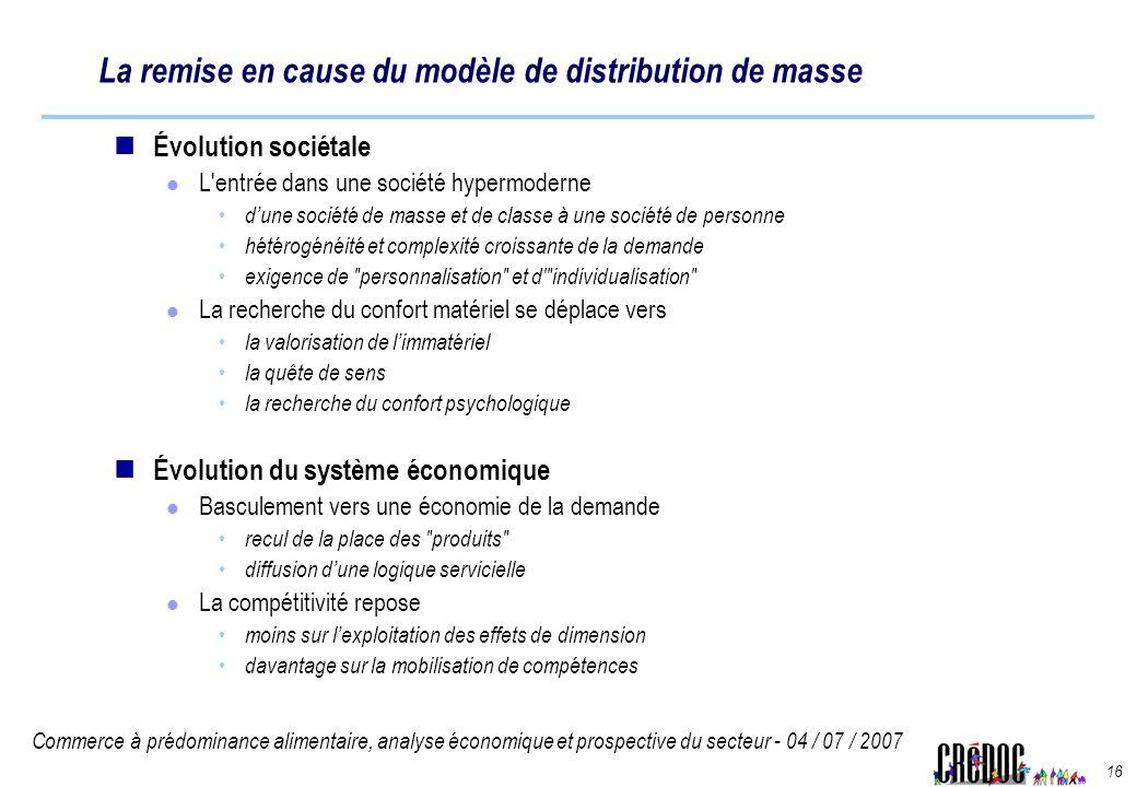 Commerce à prédominance alimentaire, analyse économique et prospective du secteur - 04 / 07 / 2007 16 La remise en cause du modèle de distribution de