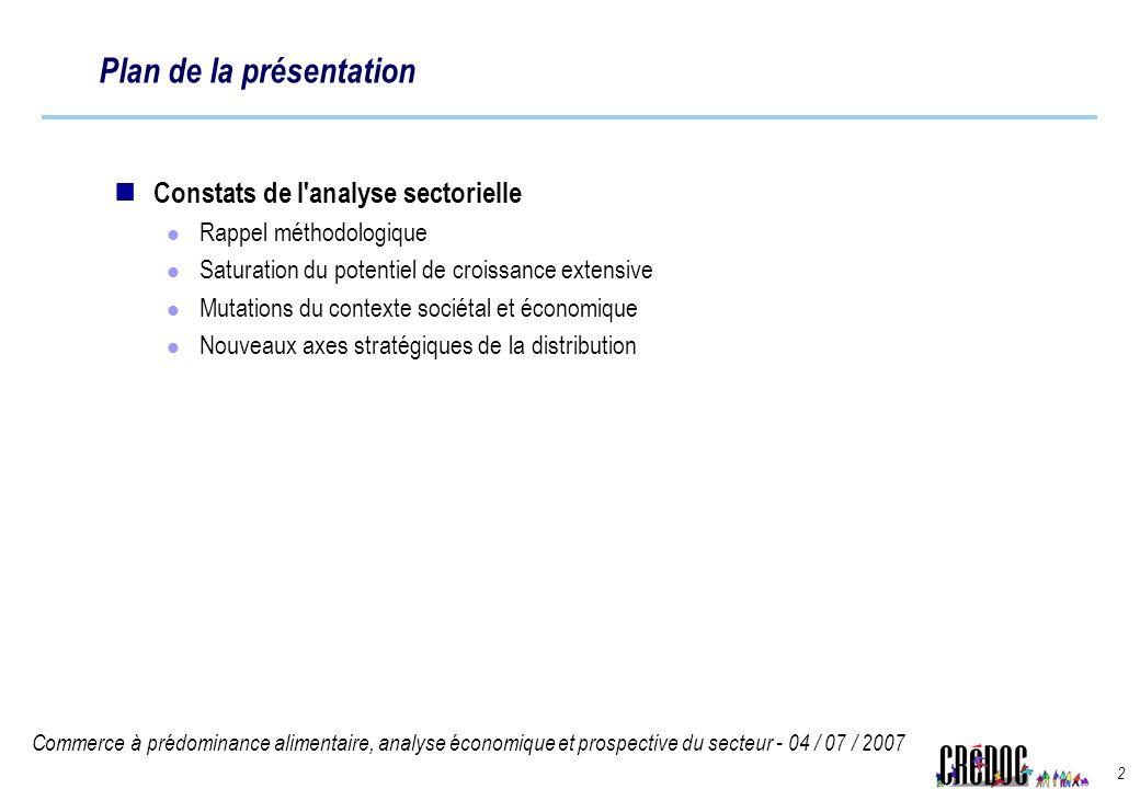 Commerce à prédominance alimentaire, analyse économique et prospective du secteur - 04 / 07 / 2007 2 Plan de la présentation Constats de l'analyse sec