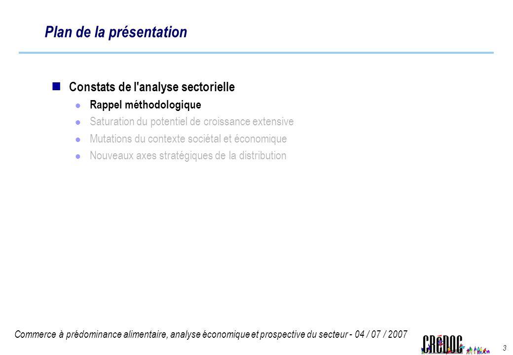 Commerce à prédominance alimentaire, analyse économique et prospective du secteur - 04 / 07 / 2007 3 Plan de la présentation Constats de l'analyse sec