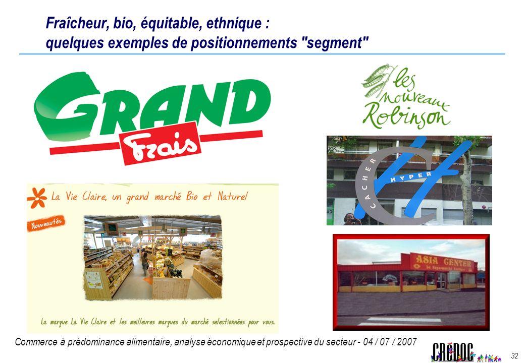 Commerce à prédominance alimentaire, analyse économique et prospective du secteur - 04 / 07 / 2007 32 Fraîcheur, bio, équitable, ethnique : quelques e