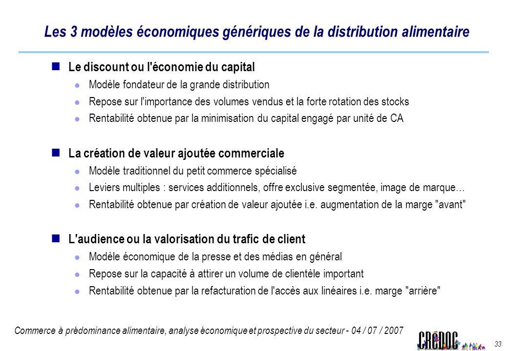 Commerce à prédominance alimentaire, analyse économique et prospective du secteur - 04 / 07 / 2007 33 Les 3 modèles économiques génériques de la distr