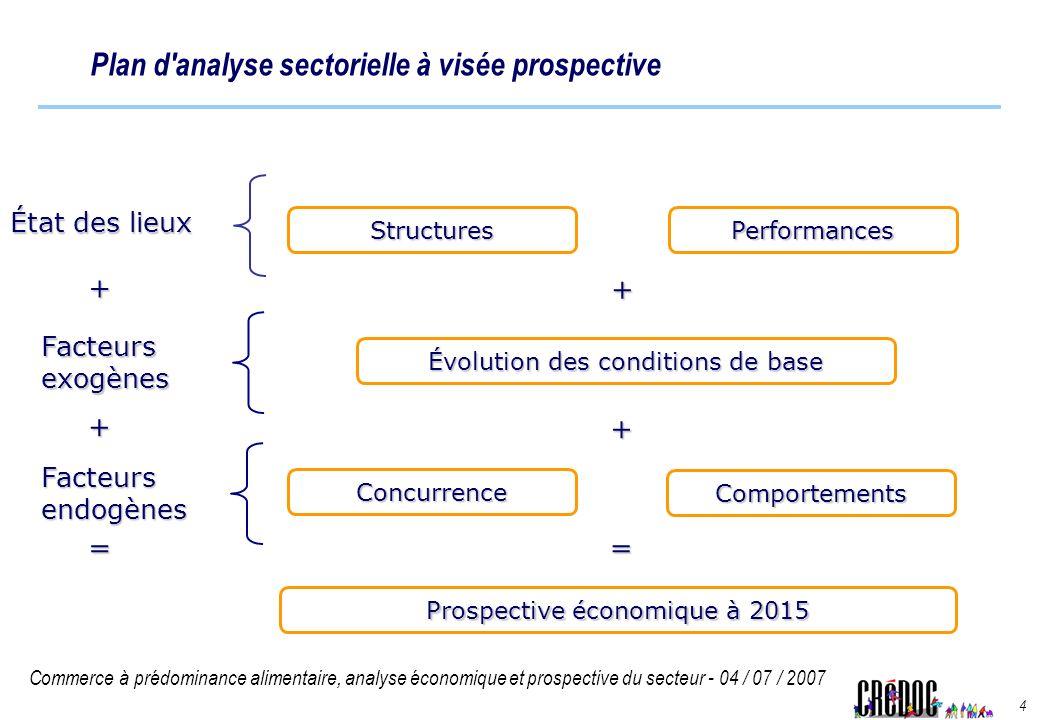 Commerce à prédominance alimentaire, analyse économique et prospective du secteur - 04 / 07 / 2007 4 Plan d'analyse sectorielle à visée prospective Év