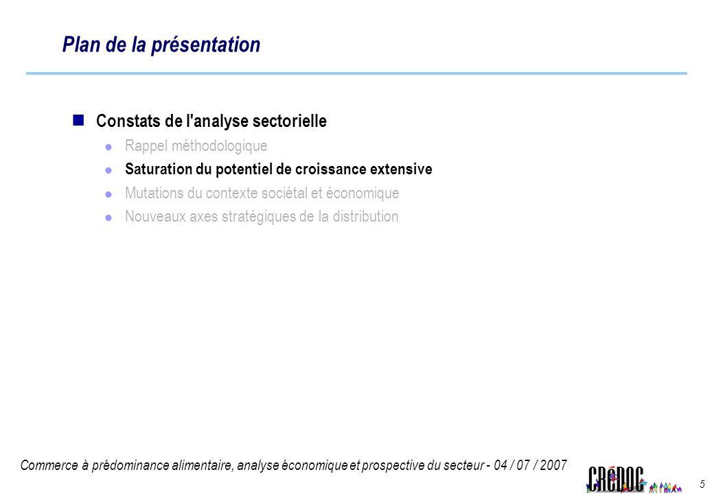 Commerce à prédominance alimentaire, analyse économique et prospective du secteur - 04 / 07 / 2007 5 Plan de la présentation Constats de l'analyse sec