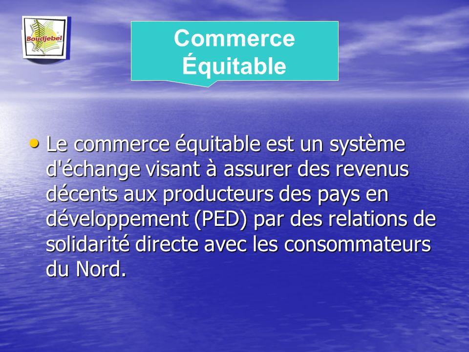Le commerce équitable est un système d'échange visant à assurer des revenus décents aux producteurs des pays en développement (PED) par des relations