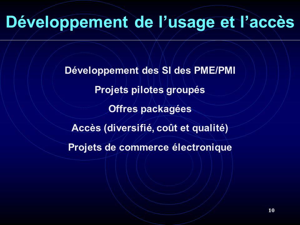 10 Développement de lusage et laccès Développement des SI des PME/PMI Projets pilotes groupés Offres packagées Accès (diversifié, coût et qualité) Projets de commerce électronique