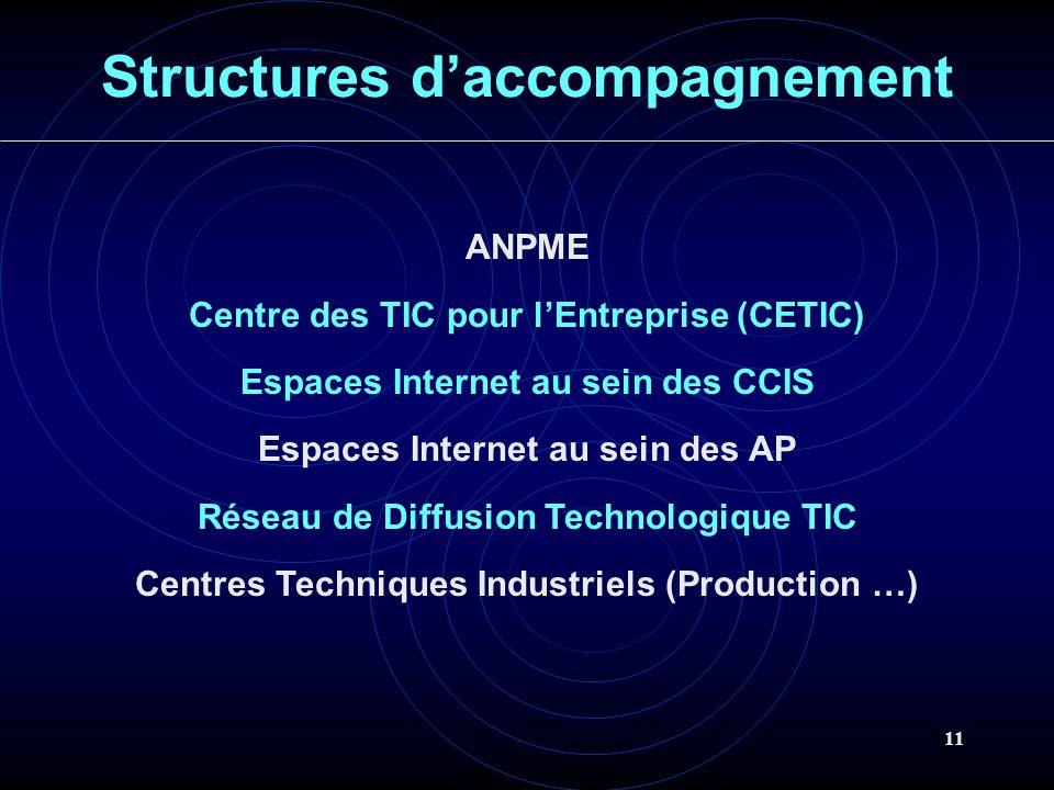 11 Structures daccompagnement ANPME Centre des TIC pour lEntreprise (CETIC) Espaces Internet au sein des CCIS Espaces Internet au sein des AP Réseau de Diffusion Technologique TIC Centres Techniques Industriels (Production …)