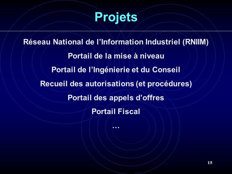 15 Projets Réseau National de lInformation Industriel (RNIIM) Portail de la mise à niveau Portail de lIngénierie et du Conseil Recueil des autorisations (et procédures) Portail des appels doffres Portail Fiscal …