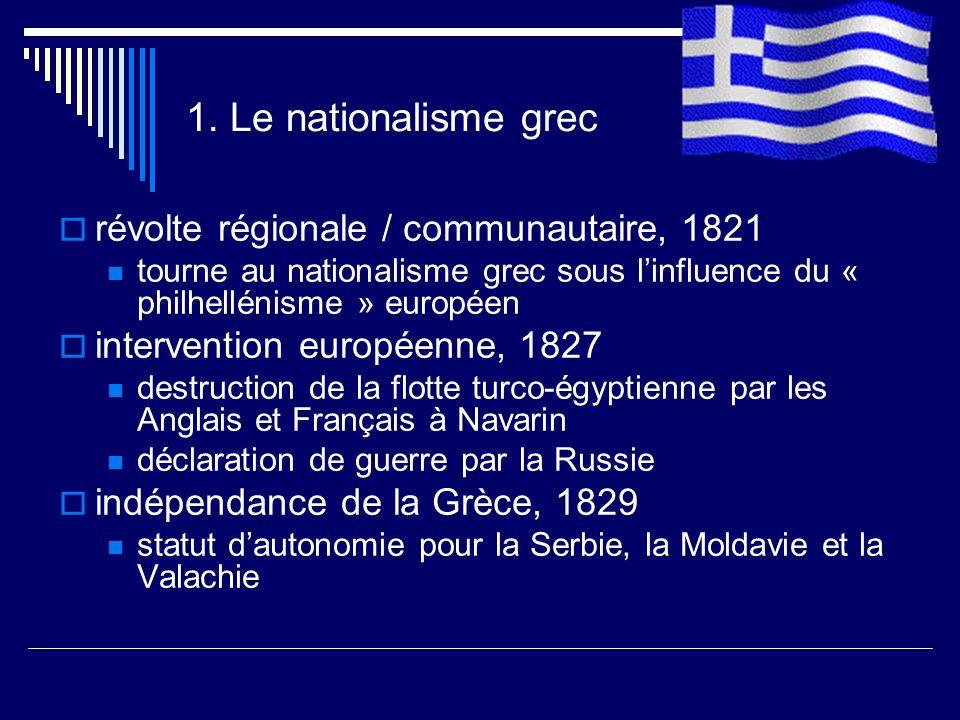 1. Le nationalisme grec révolte régionale / communautaire, 1821 tourne au nationalisme grec sous linfluence du « philhellénisme » européen interventio