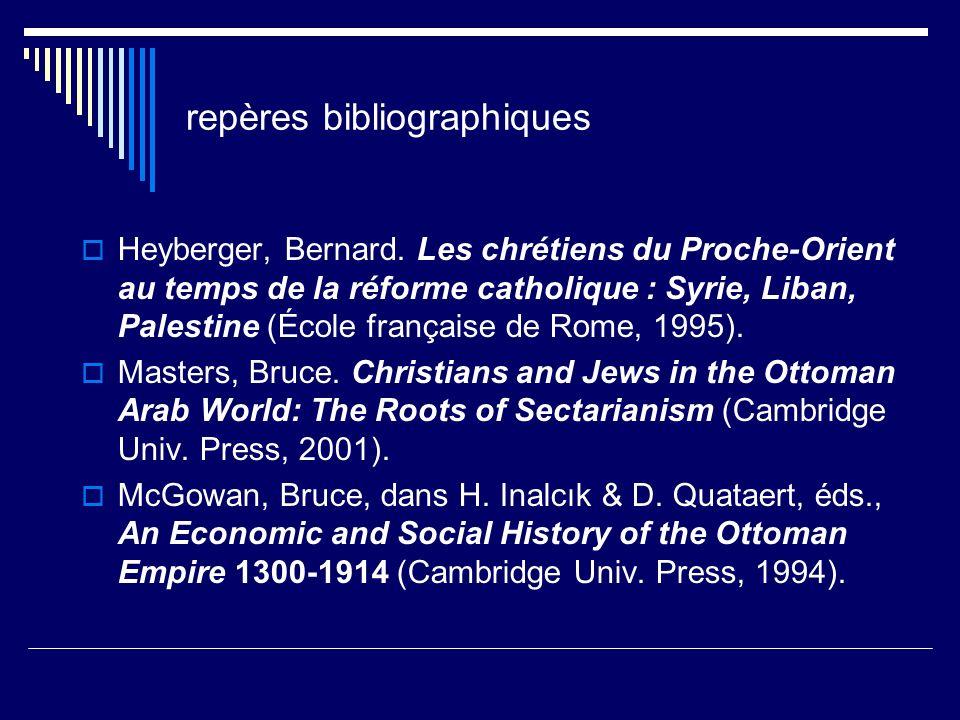 repères bibliographiques Heyberger, Bernard. Les chrétiens du Proche-Orient au temps de la réforme catholique : Syrie, Liban, Palestine (École françai