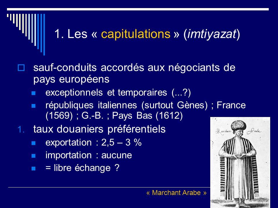 1. Les « capitulations » (imtiyazat) sauf-conduits accordés aux négociants de pays européens exceptionnels et temporaires (...?) républiques italienne