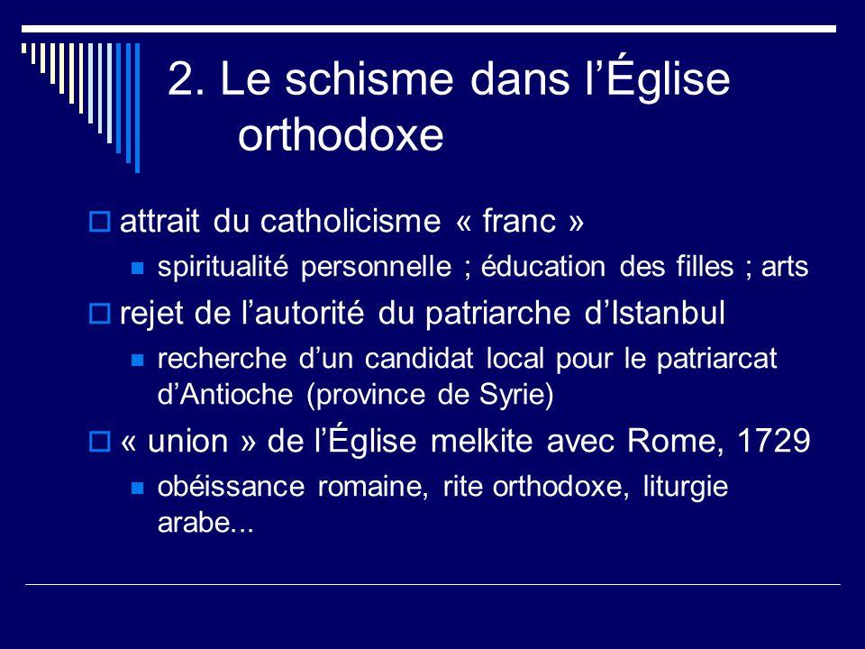 2. Le schisme dans lÉglise orthodoxe attrait du catholicisme « franc » spiritualité personnelle ; éducation des filles ; arts rejet de lautorité du pa