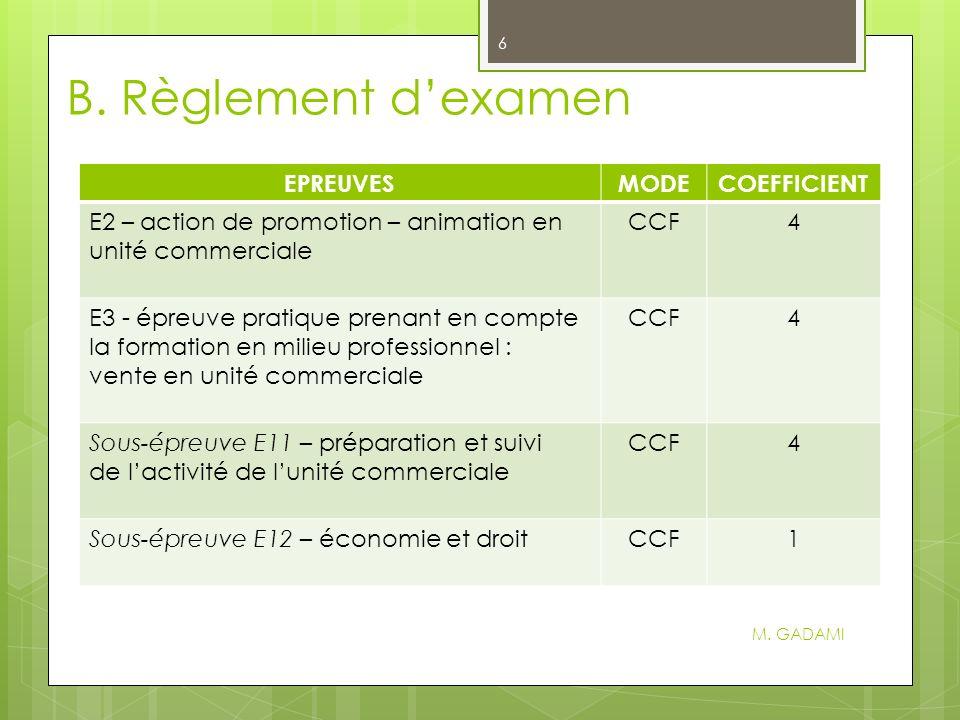 B.Règlement dexamen M.