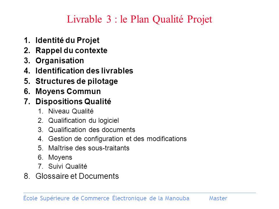 École Supérieure de Commerce Électronique de la ManoubaMaster Livrable 3 : le Plan Qualité Projet 1.Identité du Projet 2.Rappel du contexte 3.Organisa