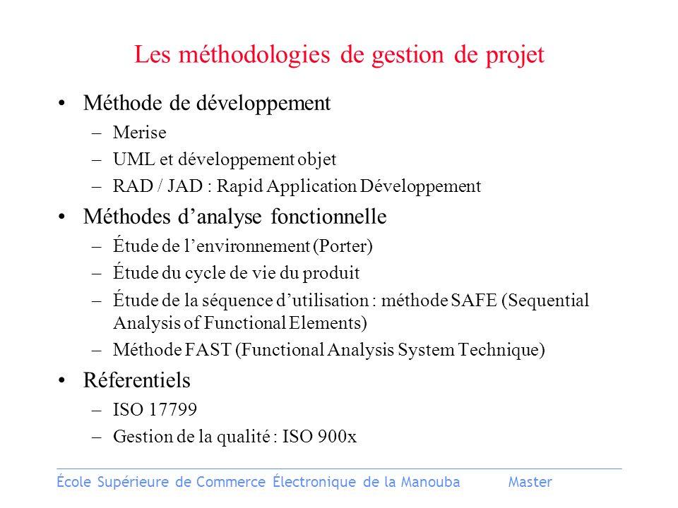 École Supérieure de Commerce Électronique de la ManoubaMaster Les méthodologies de gestion de projet Méthode de développement –Merise –UML et développ