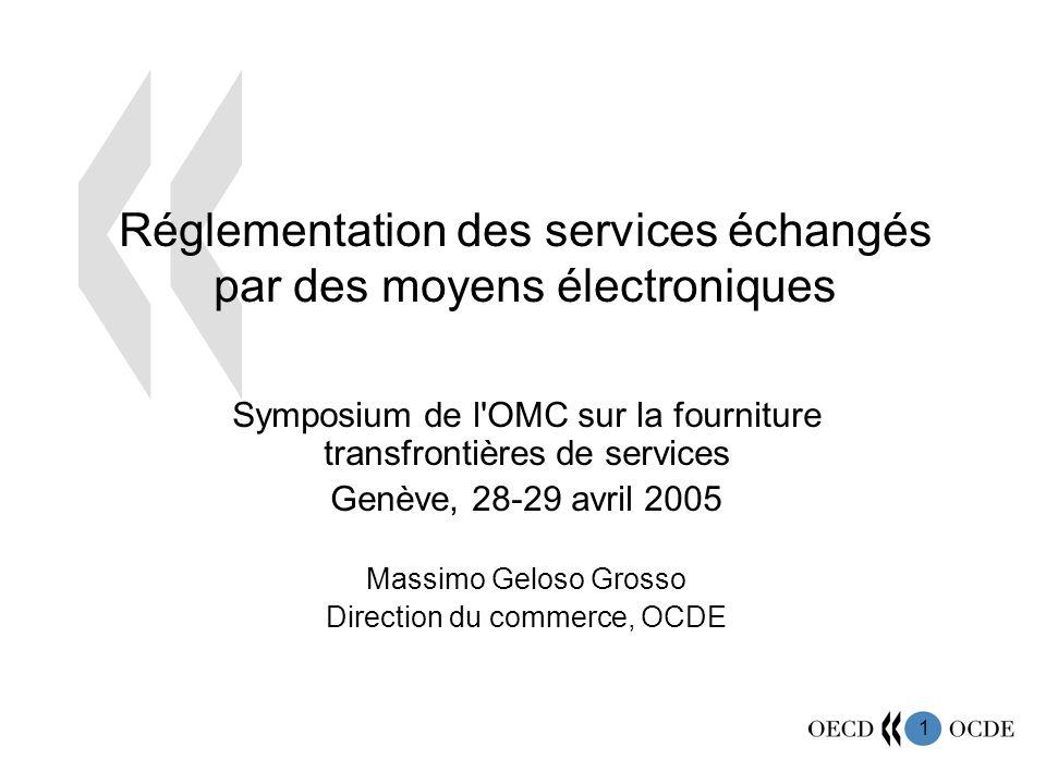1 Réglementation des services échangés par des moyens électroniques Symposium de l'OMC sur la fourniture transfrontières de services Genève, 28-29 avr