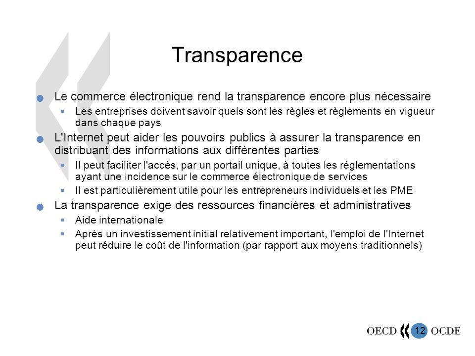 12 Transparence Le commerce électronique rend la transparence encore plus nécessaire Les entreprises doivent savoir quels sont les règles et règlement