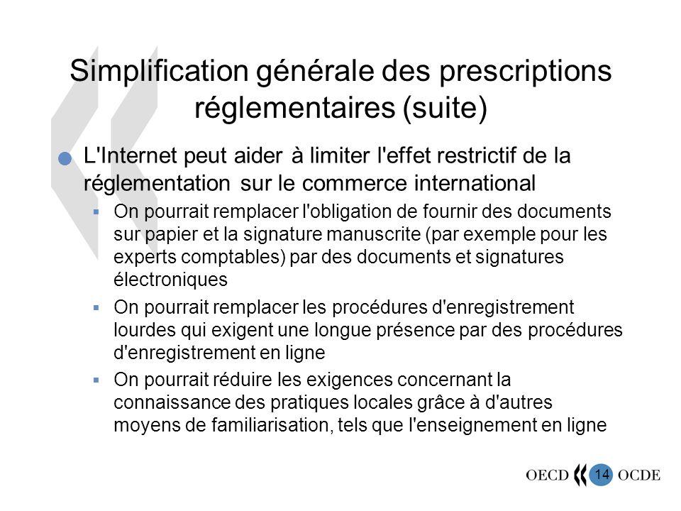 14 Simplification générale des prescriptions réglementaires (suite) L'Internet peut aider à limiter l'effet restrictif de la réglementation sur le com