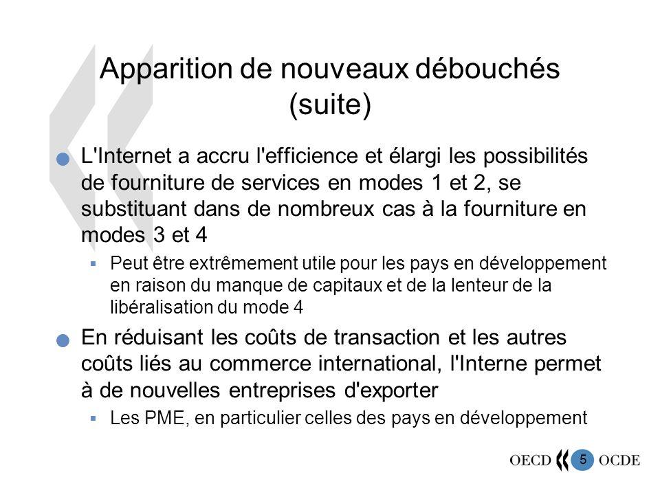 5 Apparition de nouveaux débouchés (suite) L'Internet a accru l'efficience et élargi les possibilités de fourniture de services en modes 1 et 2, se su