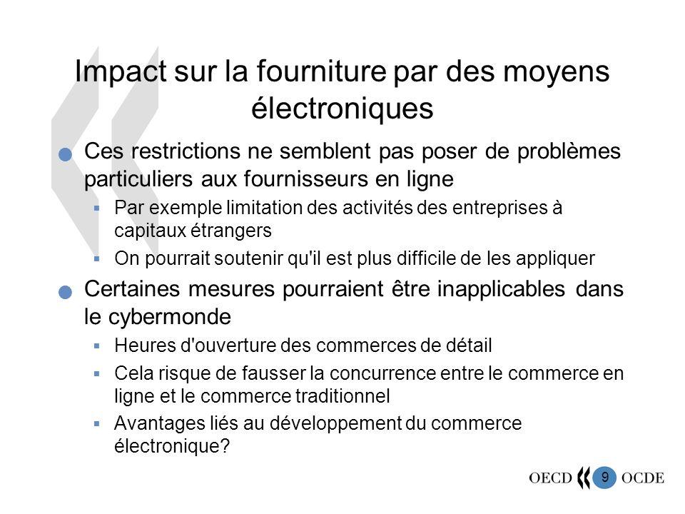 9 Impact sur la fourniture par des moyens électroniques Ces restrictions ne semblent pas poser de problèmes particuliers aux fournisseurs en ligne Par