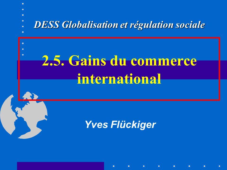 2.5. Gains du commerce international Yves Flückiger DESS Globalisation et régulation sociale