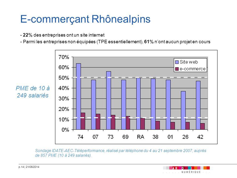 p.14   21/05/2014 E-commerçant Rhônealpins - 22% des entreprises ont un site internet - Parmi les entreprises non équipées (TPE essentiellement), 61%