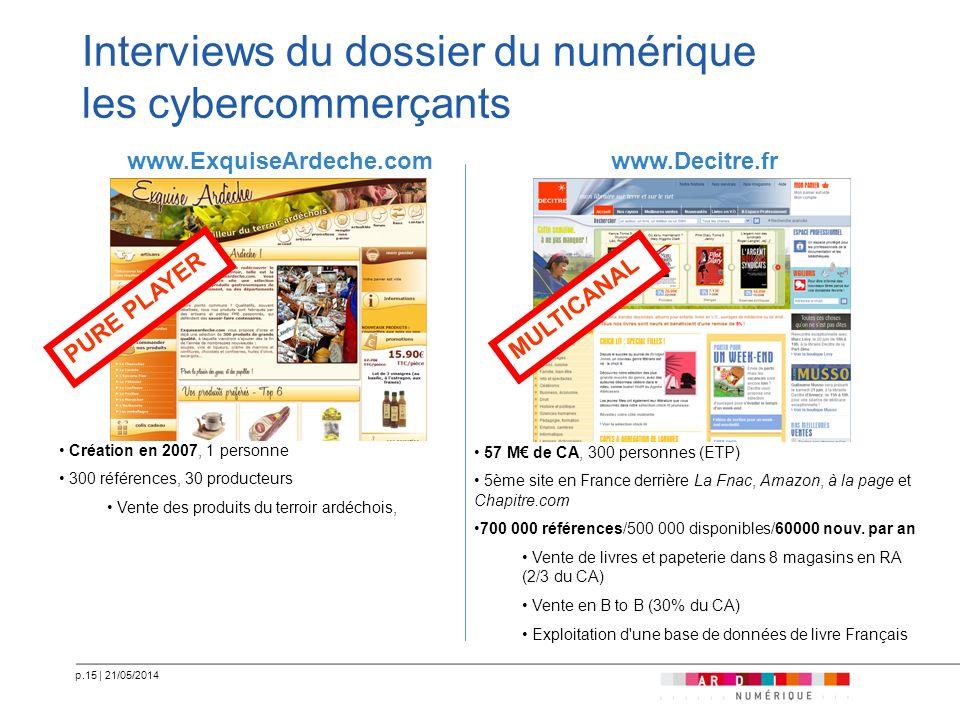 p.15   21/05/2014 Interviews du dossier du numérique les cybercommerçants www.ExquiseArdeche.comwww.Decitre.fr 57 M de CA, 300 personnes (ETP) 5ème si