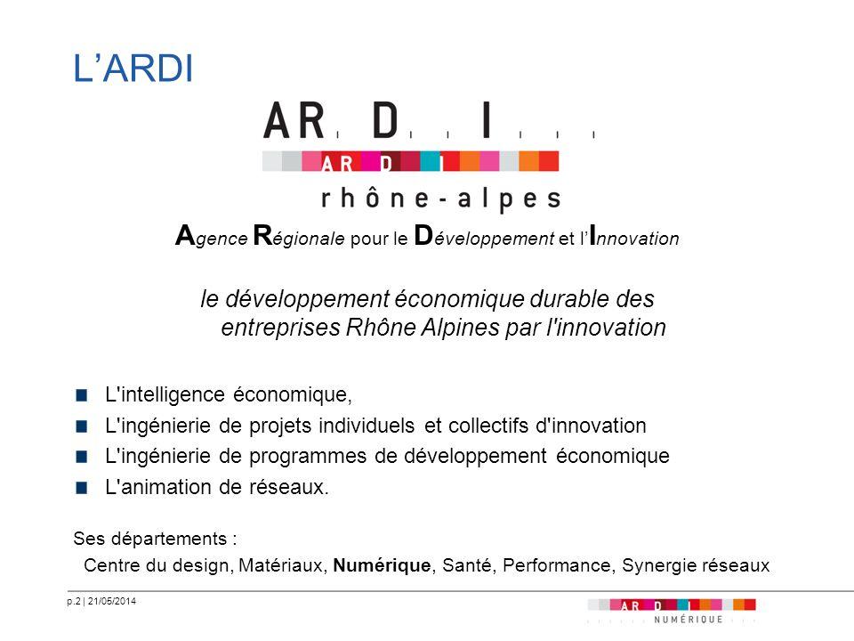 p.2   21/05/2014 LARDI A gence R égionale pour le D éveloppement et l I nnovation le développement économique durable des entreprises Rhône Alpines pa