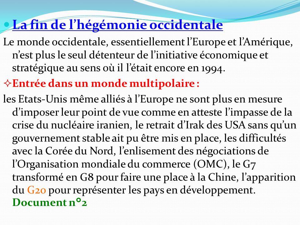 La fin de lhégémonie occidentale Le monde occidentale, essentiellement lEurope et lAmérique, nest plus le seul détenteur de linitiative économique et