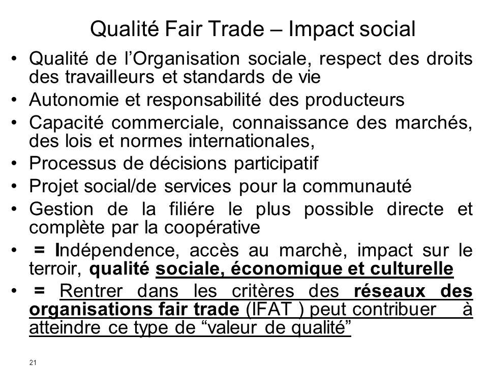21 Qualité Fair Trade – Impact social Qualité de lOrganisation sociale, respect des droits des travailleurs et standards de vie Autonomie et responsab