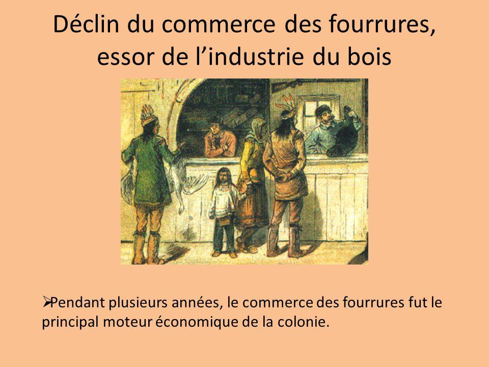 Déclin du commerce des fourrures, essor de lindustrie du bois Pendant plusieurs années, le commerce des fourrures fut le principal moteur économique d