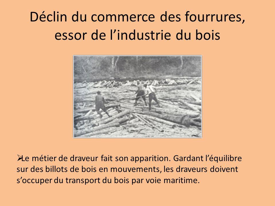 Déclin du commerce des fourrures, essor de lindustrie du bois Le métier de draveur fait son apparition. Gardant léquilibre sur des billots de bois en