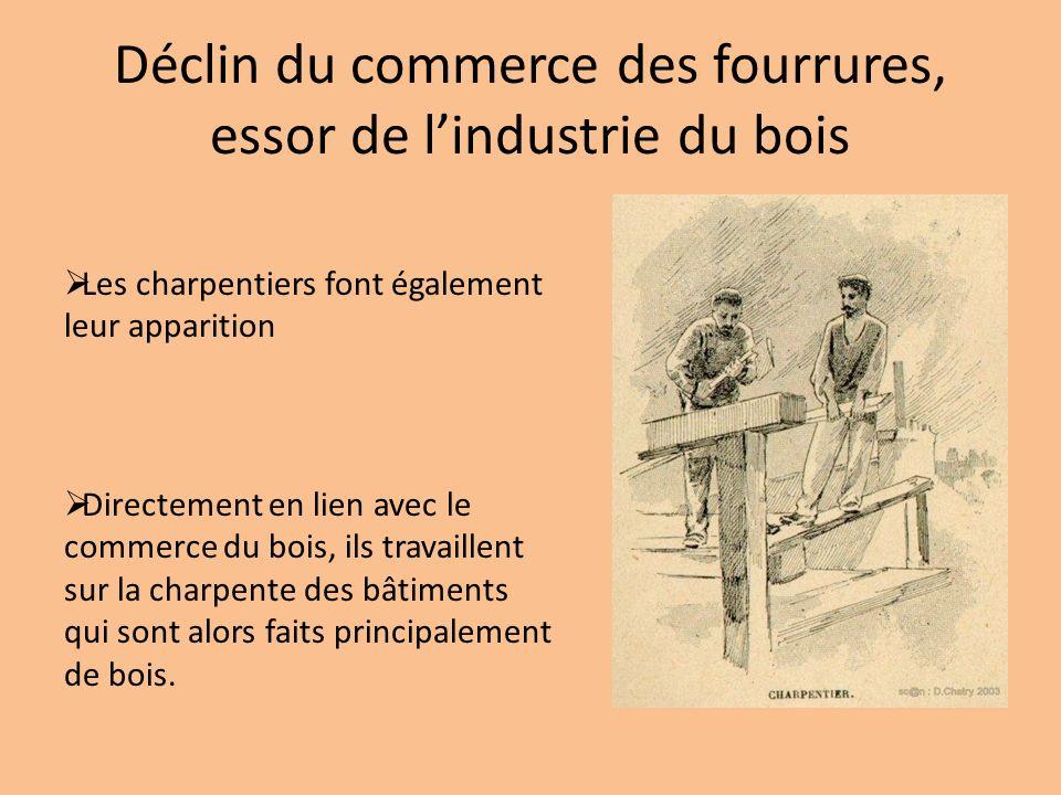 Déclin du commerce des fourrures, essor de lindustrie du bois Les charpentiers font également leur apparition Directement en lien avec le commerce du