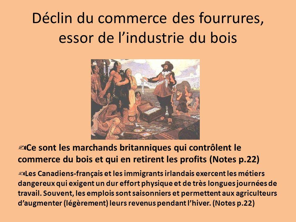 Déclin du commerce des fourrures, essor de lindustrie du bois Les Canadiens-français et les immigrants irlandais exercent les métiers dangereux qui ex
