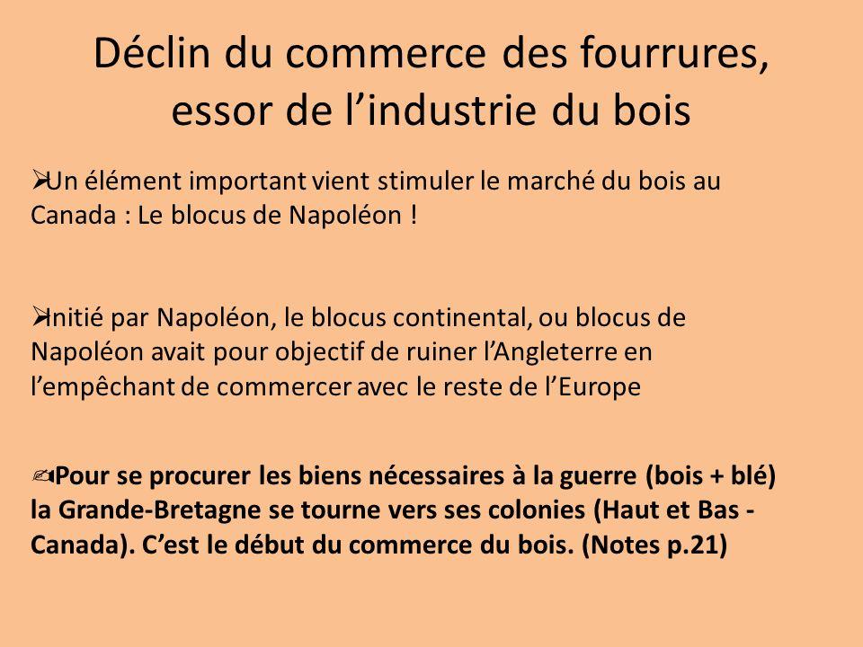 Déclin du commerce des fourrures, essor de lindustrie du bois Un élément important vient stimuler le marché du bois au Canada : Le blocus de Napoléon