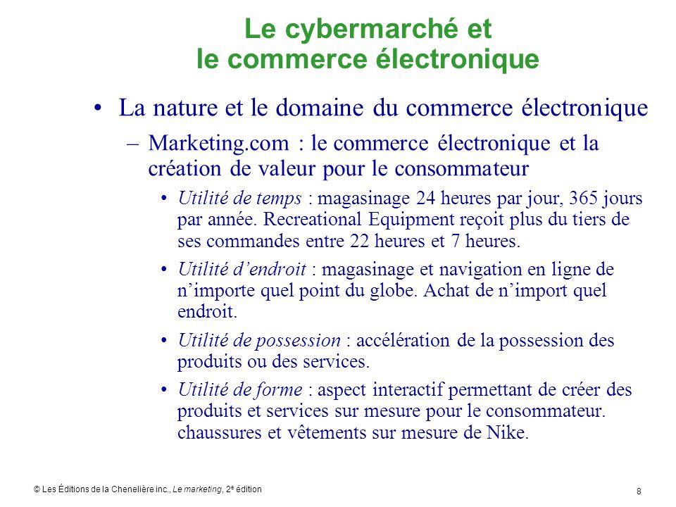 © Les Éditions de la Chenelière inc., Le marketing, 2 e édition 19 Le marketing interactif sur le cybermarché Comment les entreprises tirent-elles avantage du commerce électronique et du marketing interactif.