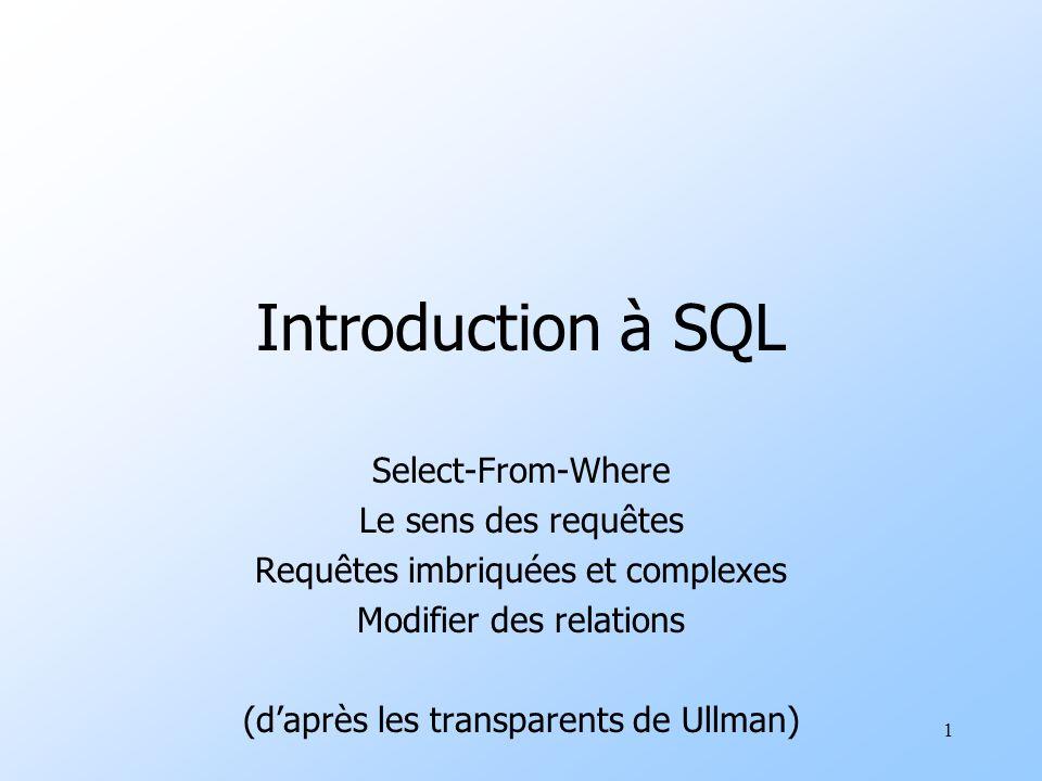 1 Introduction à SQL Select-From-Where Le sens des requêtes Requêtes imbriquées et complexes Modifier des relations (daprès les transparents de Ullman)