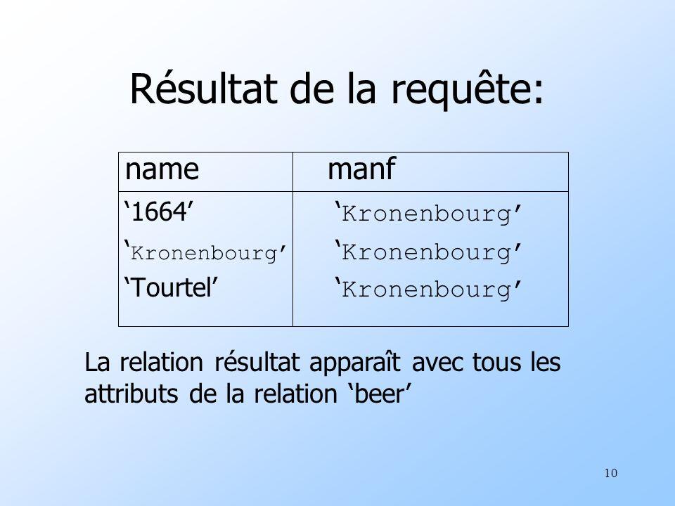 10 Résultat de la requête: namemanf 1664 Kronenbourg Kronenbourg Kronenbourg Tourtel Kronenbourg La relation résultat apparaît avec tous les attributs de la relation beer
