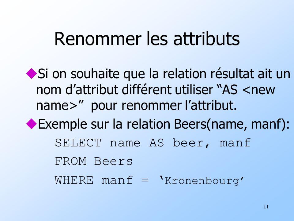11 Renommer les attributs uSi on souhaite que la relation résultat ait un nom dattribut différent utiliser AS pour renommer lattribut.