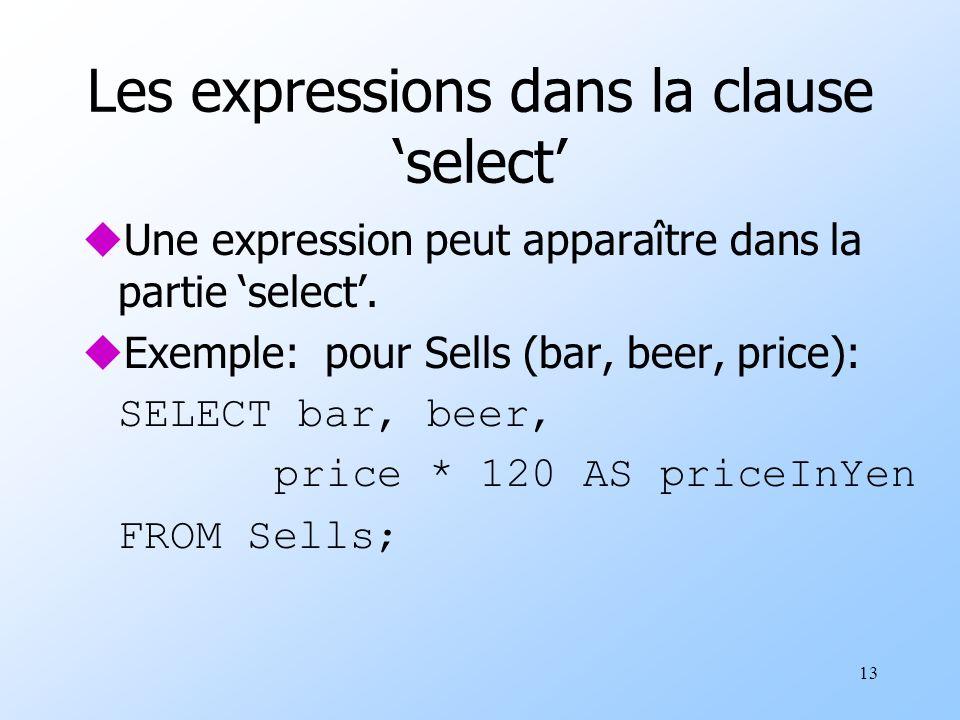 13 Les expressions dans la clause select uUne expression peut apparaître dans la partie select.