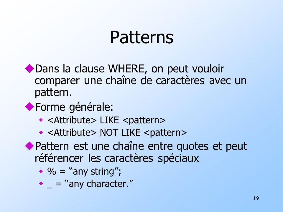 19 Patterns uDans la clause WHERE, on peut vouloir comparer une chaîne de caractères avec un pattern.