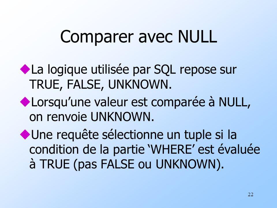 22 Comparer avec NULL uLa logique utilisée par SQL repose sur TRUE, FALSE, UNKNOWN.