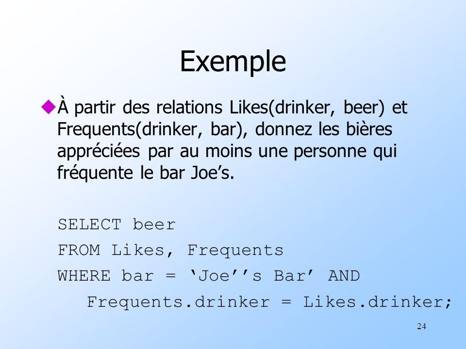 24 Exemple uÀ partir des relations Likes(drinker, beer) et Frequents(drinker, bar), donnez les bières appréciées par au moins une personne qui fréquente le bar Joes.