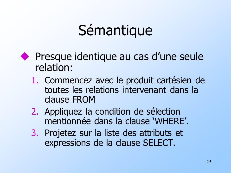 25 Sémantique uPresque identique au cas dune seule relation: 1.Commencez avec le produit cartésien de toutes les relations intervenant dans la clause FROM 2.Appliquez la condition de sélection mentionnée dans la clause WHERE.