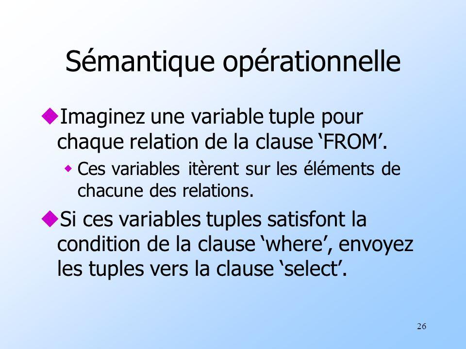 26 Sémantique opérationnelle uImaginez une variable tuple pour chaque relation de la clause FROM.