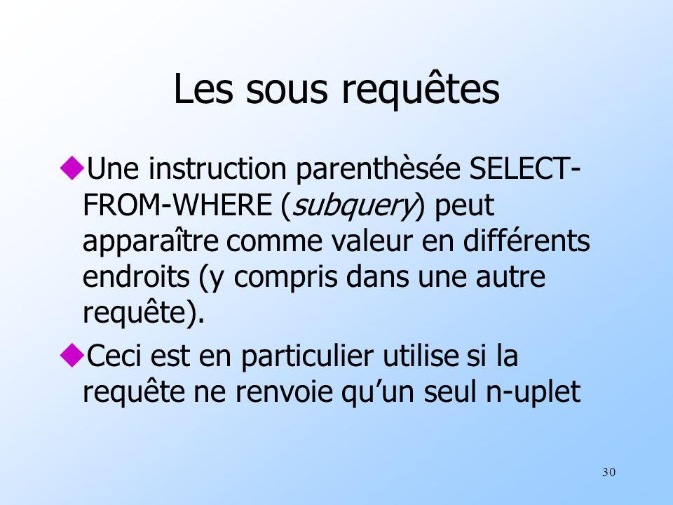 30 Les sous requêtes uUne instruction parenthèsée SELECT- FROM-WHERE (subquery) peut apparaître comme valeur en différents endroits (y compris dans une autre requête).