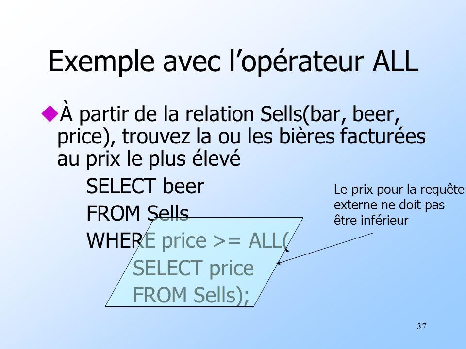37 Exemple avec lopérateur ALL uÀ partir de la relation Sells(bar, beer, price), trouvez la ou les bières facturées au prix le plus élevé SELECT beer FROM Sells WHERE price >= ALL( SELECT price FROM Sells); Le prix pour la requête externe ne doit pas être inférieur