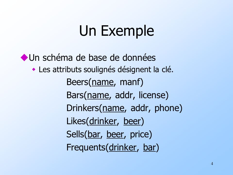 15 Un autre exemple : avec des expressions constantes uSur la relation Likes(drinker, beer): SELECT drinker, likes Bud AS whoLikesBud FROM Likes WHERE beer = Bud;