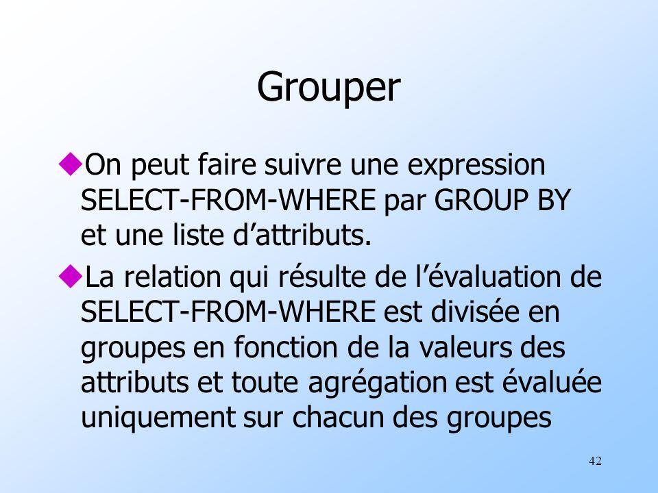 42 Grouper uOn peut faire suivre une expression SELECT-FROM-WHERE par GROUP BY et une liste dattributs.