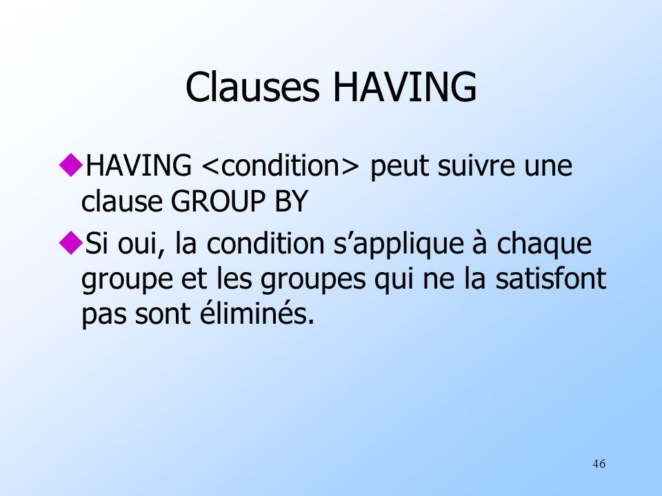 46 Clauses HAVING uHAVING peut suivre une clause GROUP BY uSi oui, la condition sapplique à chaque groupe et les groupes qui ne la satisfont pas sont éliminés.