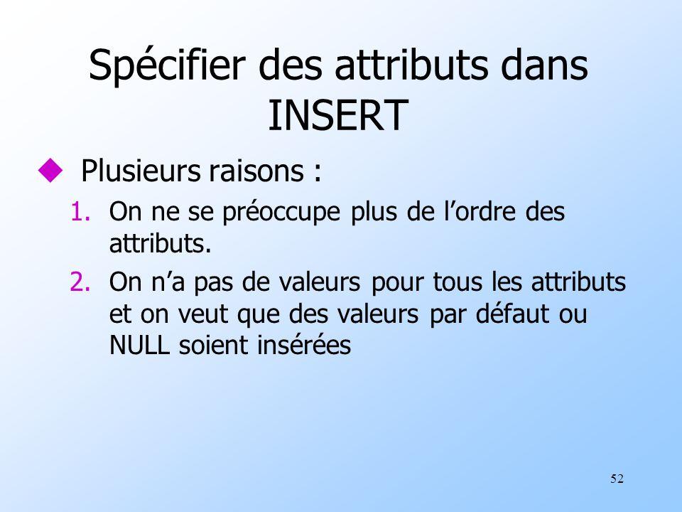52 Spécifier des attributs dans INSERT uPlusieurs raisons : 1.On ne se préoccupe plus de lordre des attributs.